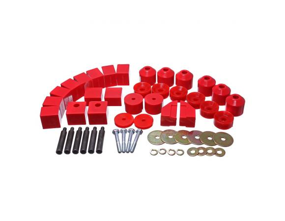 Energy Suspension 86-95 Suzuki Samurai Red 1in Lift Body Mount Set - Energy Suspension 1.4102R