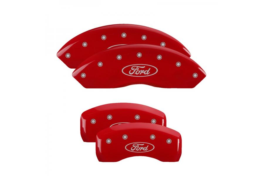 MGP Red Front & Rear Caliper Covers with Silver Ford Oval Logo - MGP 10007SFRDRD