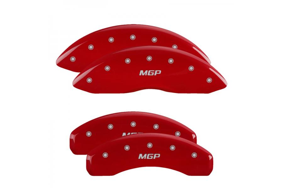 MGP Red Front & Rear Caliper Covers with Silver - MGP 10008SMGPRD