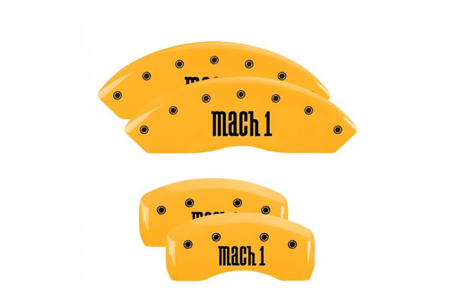 MGP Yellow Front & Rear Caliper Covers with Black Mach 1 - MGP 10017SMCHYL