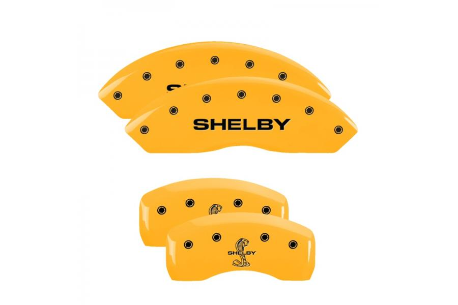 MGP Yellow Front & Rear Caliper Covers with Black Shelby Front, Tiffany Snake Engraving Rear - MGP 10017SSBYYL