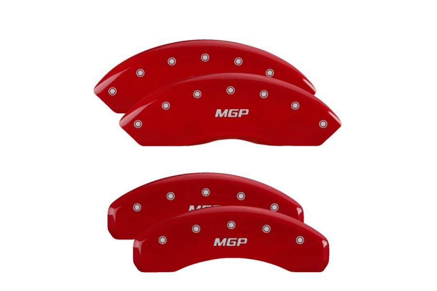 MGP Red Front & Rear Caliper Covers with Silver - MGP 10022SMGPRD