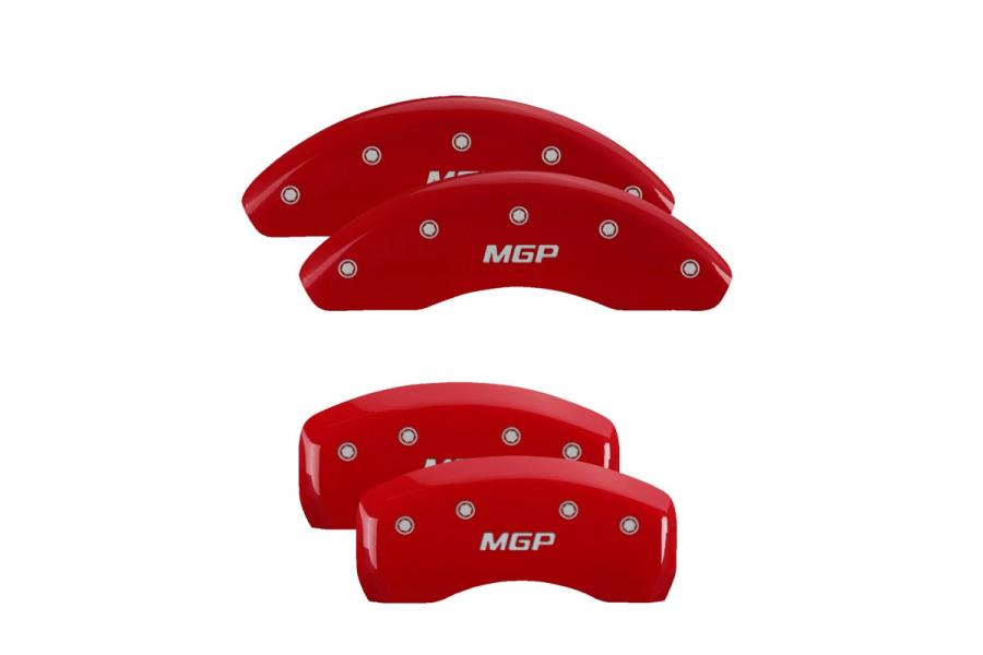 MGP Red Front & Rear Caliper Covers with Silver - MGP 10072SMGPRD