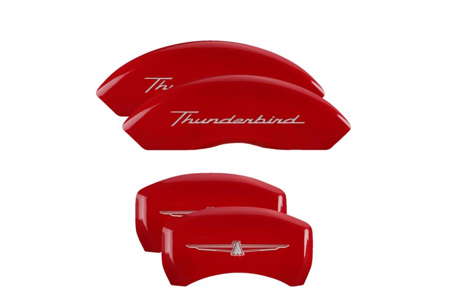 MGP Red Front & Rear Caliper Covers with Silver Thunderbird Front, Emblem Rear - MGP 10086STDBRD