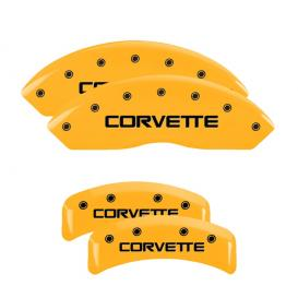 Yellow Front & Rear Caliper Covers with Black Corvette