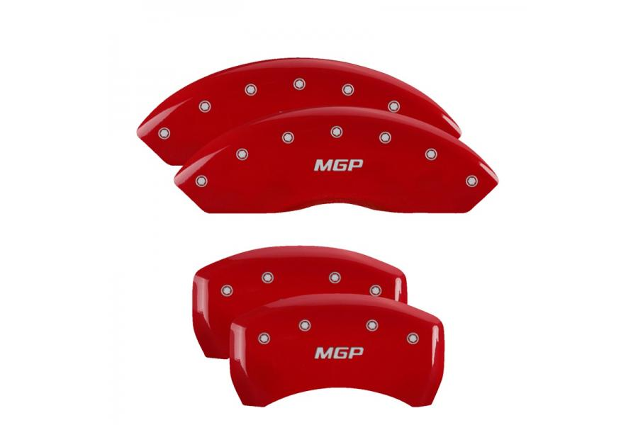 MGP Red Front & Rear Caliper Covers with Silver - MGP 22110SMGPRD