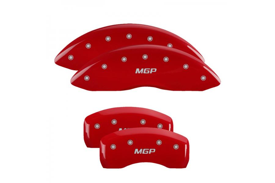 MGP Red Front & Rear Caliper Covers with Silver - MGP 22133SMGPRD