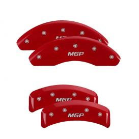 Red Front & Rear Caliper Covers with Silver MGP