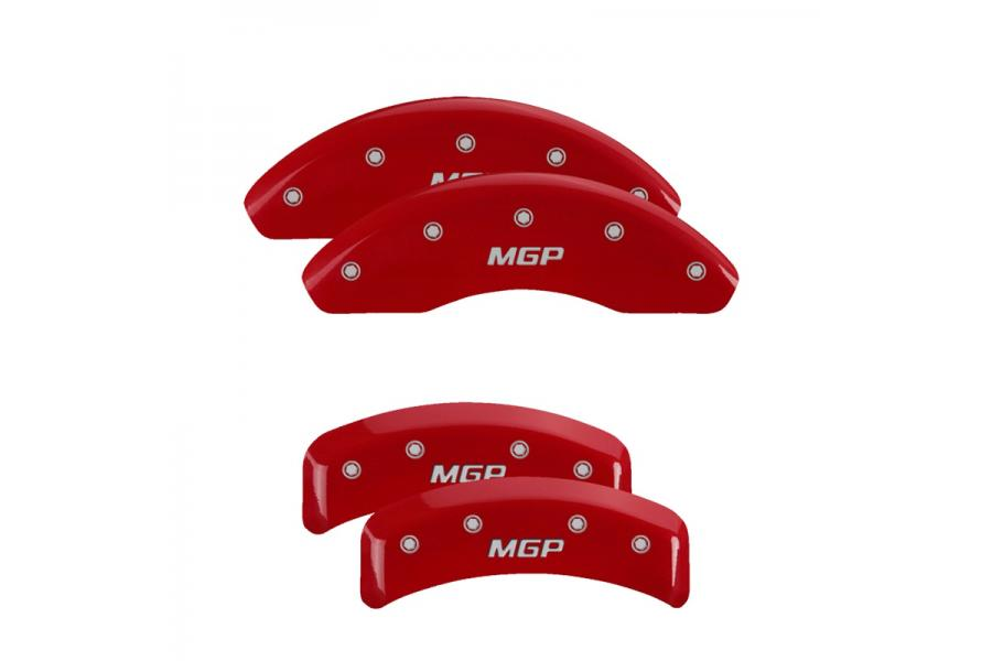 MGP Red Front & Rear Caliper Covers with Silver - MGP 22238SMGPRD