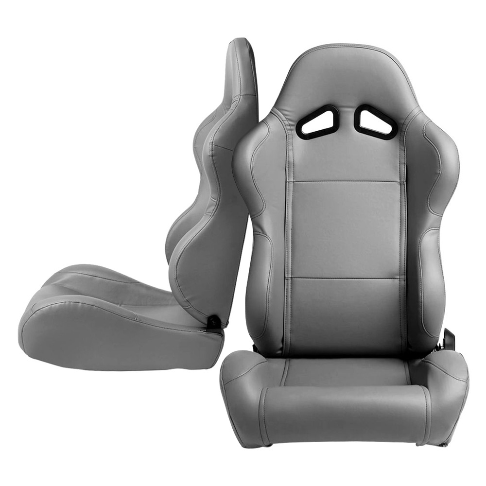 Cipher Auto CPA1001 Gray Synthetic Leather Universal Racing Seats - Cipher Auto CPA1001PGY