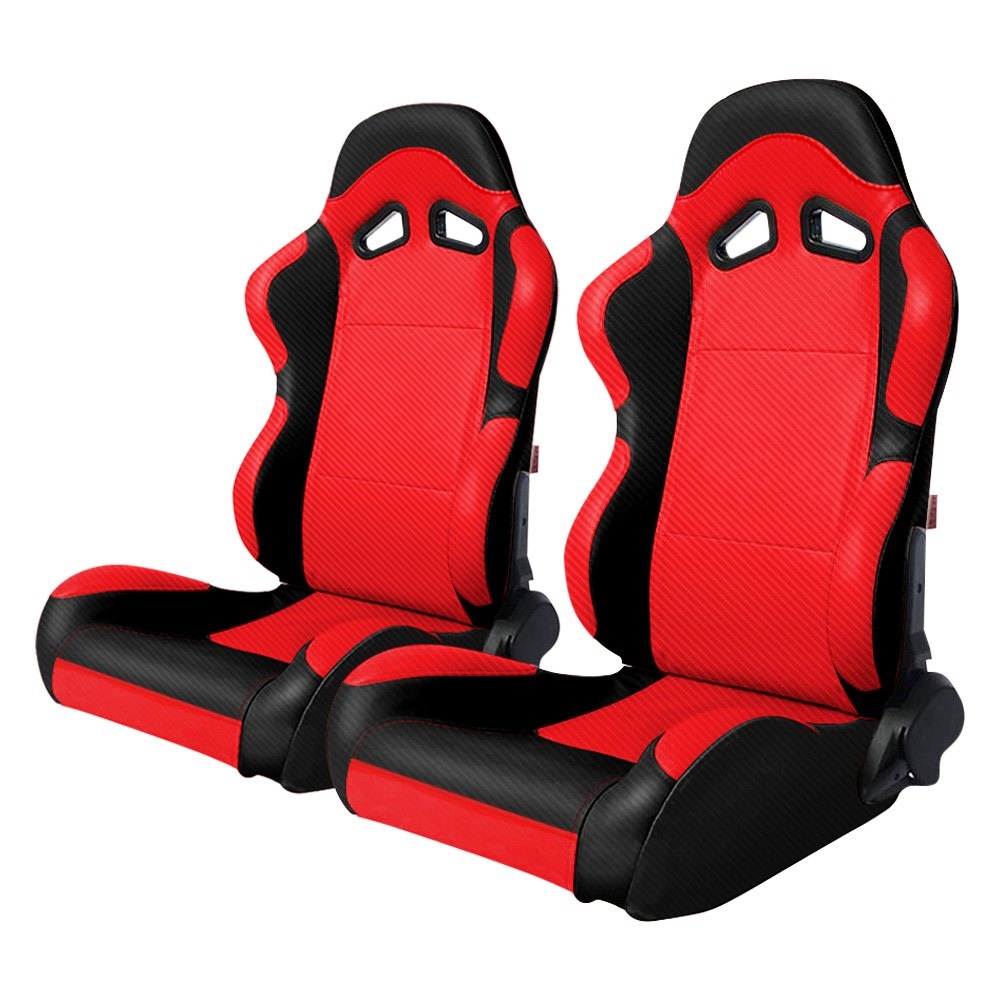 Cipher Auto CPA1003 Black/Red Full Carbon Fiber PU Racing Seats - Pair - Cipher Auto CPA1003CFBKRD