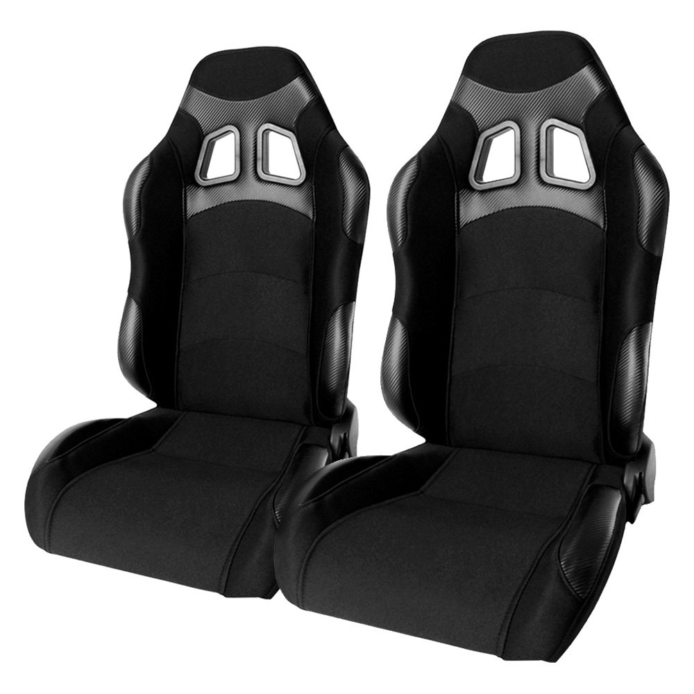 Cipher Auto CPA1007 Wide Version Black Premium Cloth With Carbon Fabric Patch Racing Seats - Pair - Cipher Auto CPA1007FBKWV