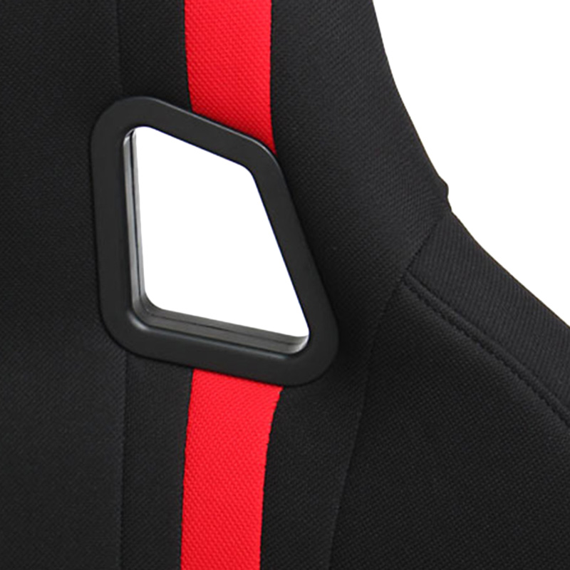 Cipher Auto CPA1008 Black Cloth With Red Stripe Full Bucket Non Reclineable Racing Seat - Each - Cipher Auto CPA1008FBK
