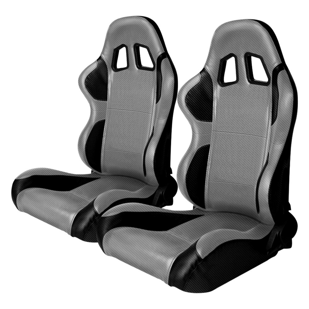 Cipher Auto CPA1011 Black/Gray Full Carbon Fiber PU Racing Seats - Pair - Cipher Auto CPA1011CFBKGY