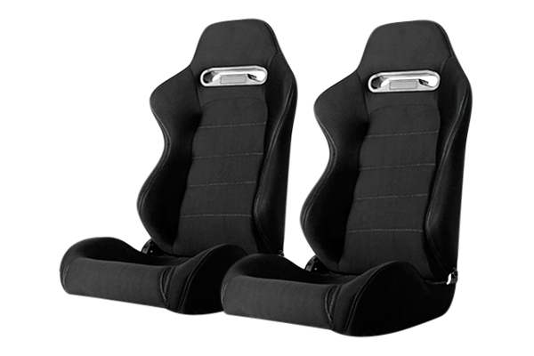 Cipher Auto CPA1013 Black with Outer Gray Stitching Universal Racing Seats - Cipher Auto CPA1013FBK-G