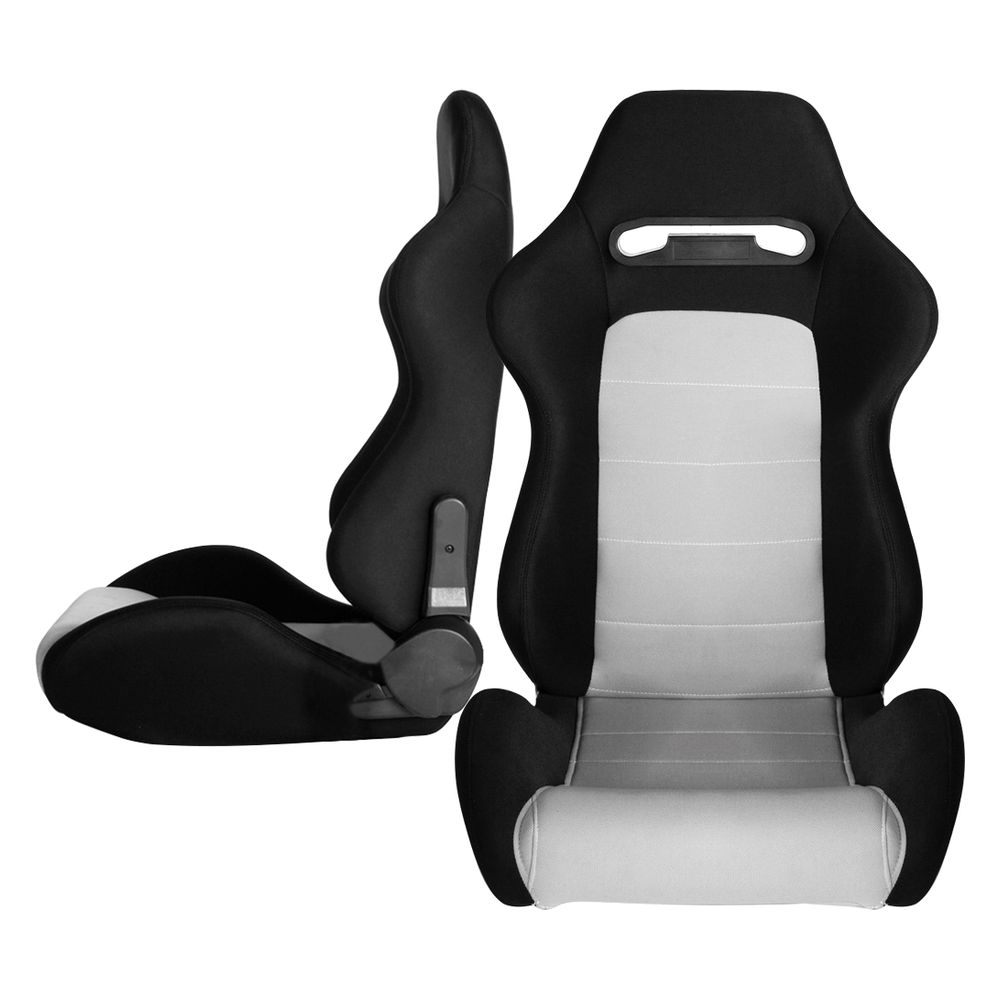 Cipher Auto CPA1013 Black and Gray Cloth Racing Seats - Cipher Auto CPA1013FBKGY