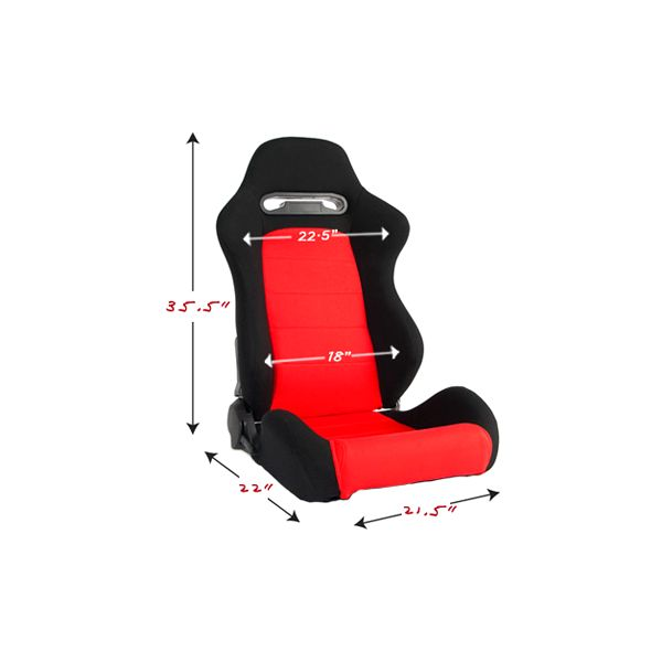 Cipher Auto CPA1013 Black and Red Cloth Universal Racing Seats - Cipher Auto CPA1013FBKRD