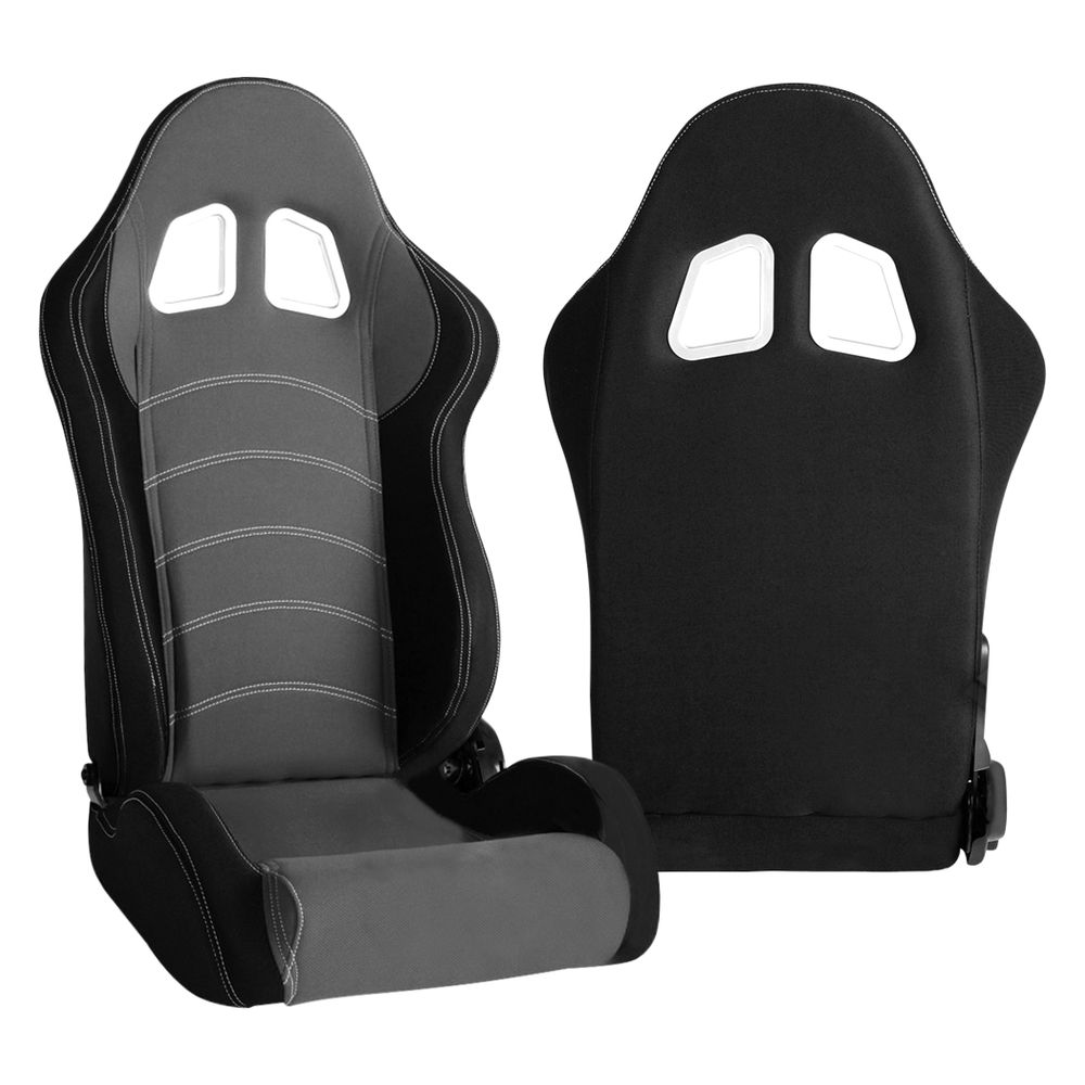 Cipher Auto CPA1018 Black and Gray Cloth Racing Seats - Cipher Auto CPA1018FBKGY
