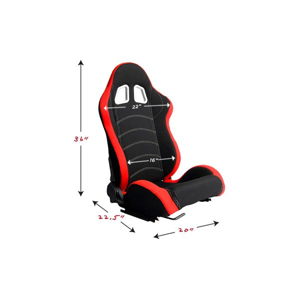 Cipher Auto CPA1018 Red and Black Cloth Racing Seats - Cipher Auto CPA1018FRDBK
