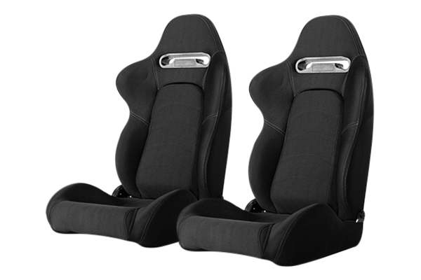 Cipher Auto CPA1019 Black Cloth with Outer Gray Stitching Universal Racing Seats - Cipher Auto CPA1019FBK-G