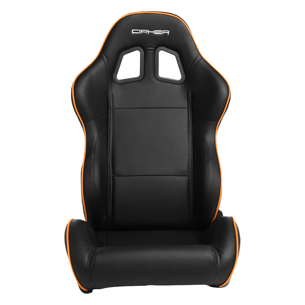 Cipher Auto CPA1031 Black Synthetic Leather with Orange Accent Piping Universal Racing Seats - Cipher Auto CPA1031PBK-O