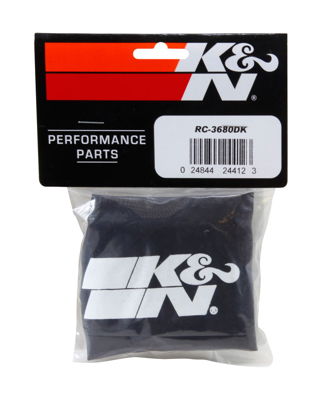K&N Black Oval Tapered Drycharger Air Filter Wrap - K&N RC-3680DK
