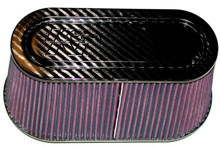 K&N Oval Straight Universal Air Filter - Carbon Fiber Top and Base - K&N RP-5115