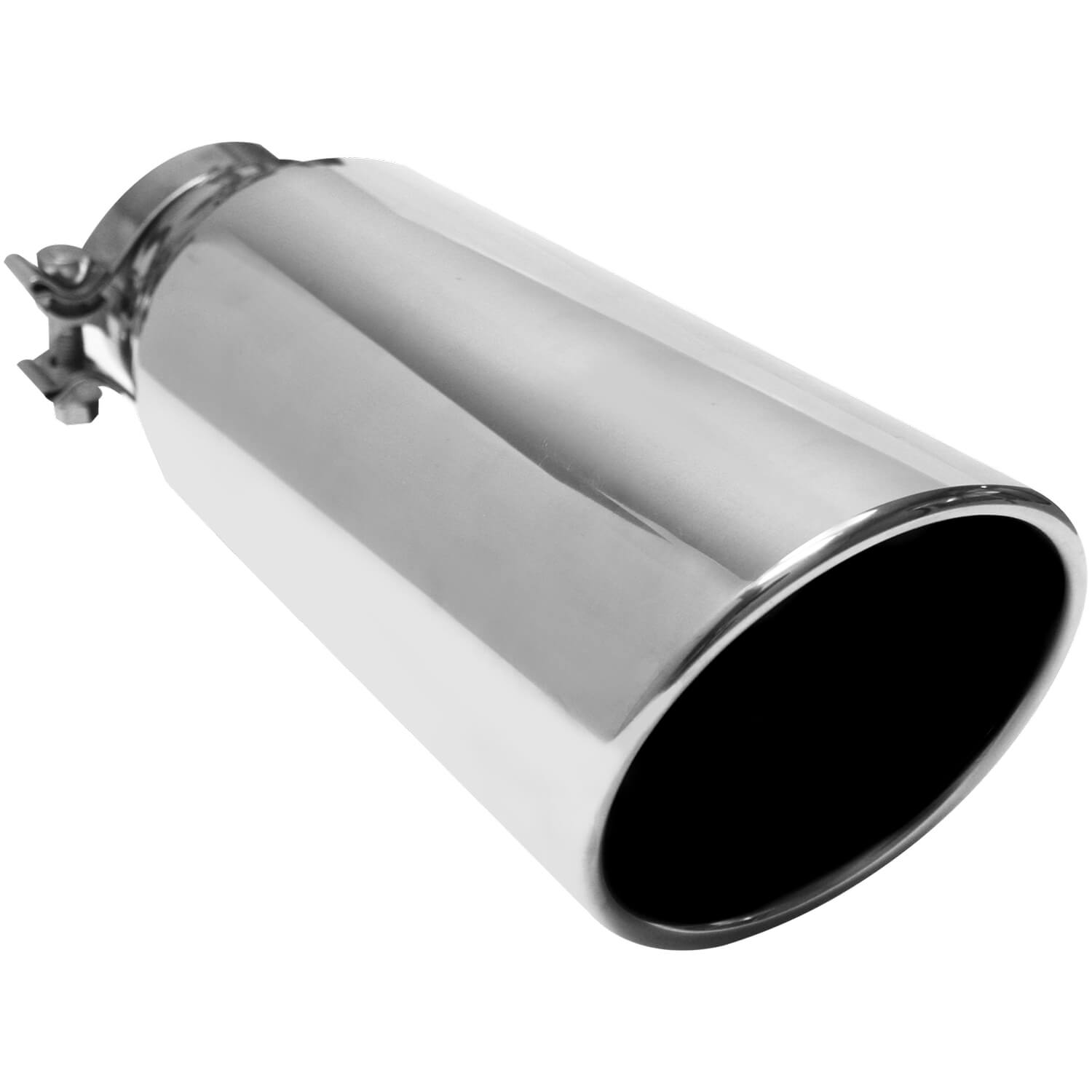 "Black stainless steel angle cut exhaust tip 2.25/"" inlet 5/"" outlet 18/"""