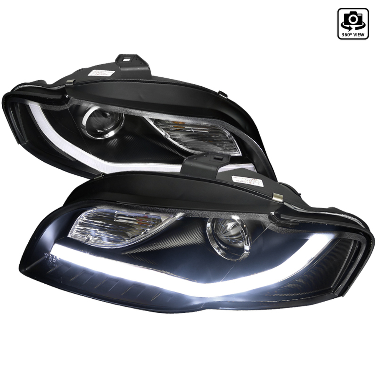 Spec-D Tuning Black R8 Style With Dual Signal Projector Headlights - Spec-D Tuning 2LHP-A406JM-8V2-TM