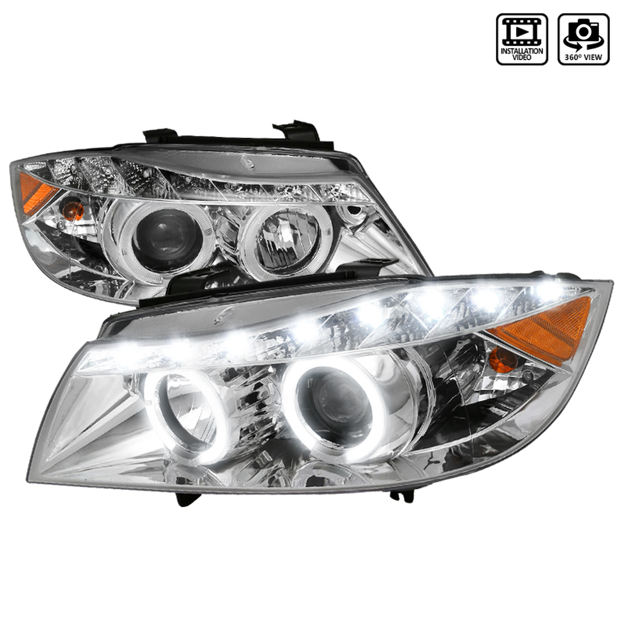 Spec-D Tuning Chrome R8 Style LED Projector Headlights - Spec-D Tuning 2LHP-E9005-8-TM
