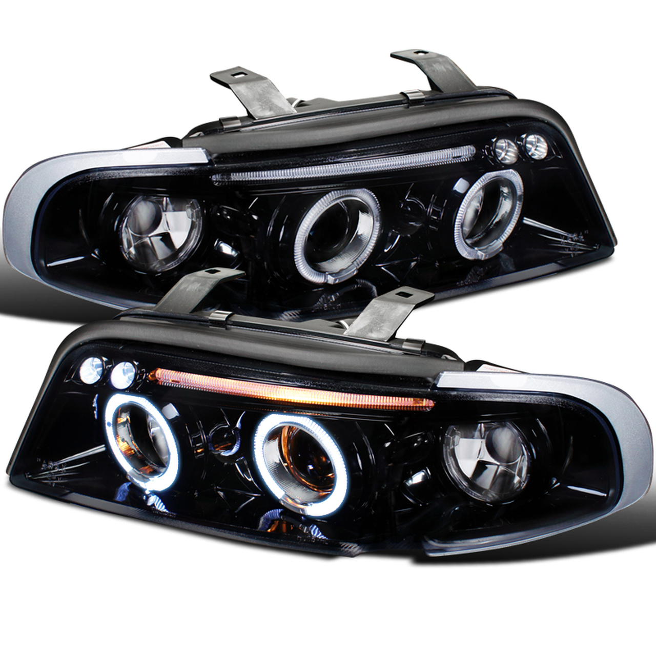 Spec-D Tuning Glossy Black with Smoke Lens Projector Headlights - Spec-D Tuning LHP-A496G-TM