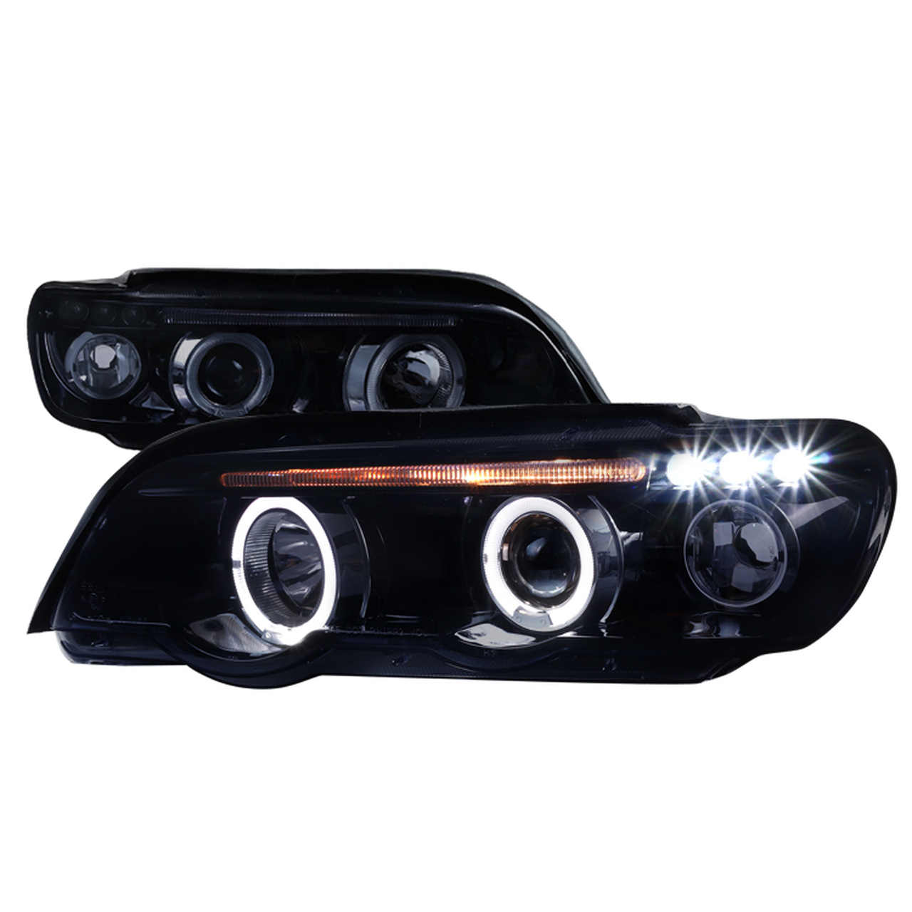 Spec-D Tuning Smoke Halo LED Projector Headlights - Spec-D Tuning LHP-X500G-TM