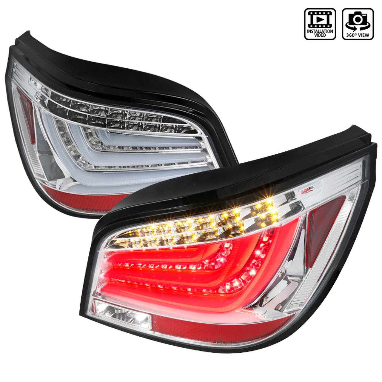 Spec-D Tuning Chrome LED Tail Lights - Spec-D Tuning LT-E6004CLED-TM