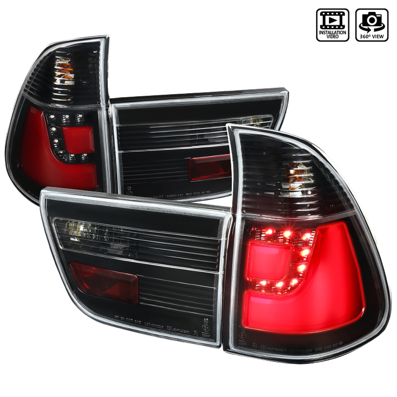 Spec-D Tuning Glossy Black LED Tail Lights - Spec-D Tuning LT-X500BKLED-TM