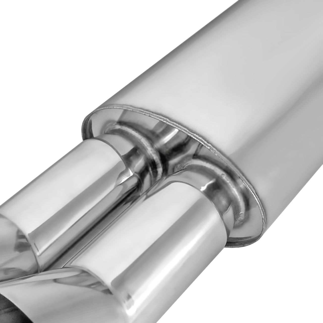 Spec-D Tuning MF-RS3DTM Universal Fitment Dtm Style Dual Tip Muffler Stainless Steel