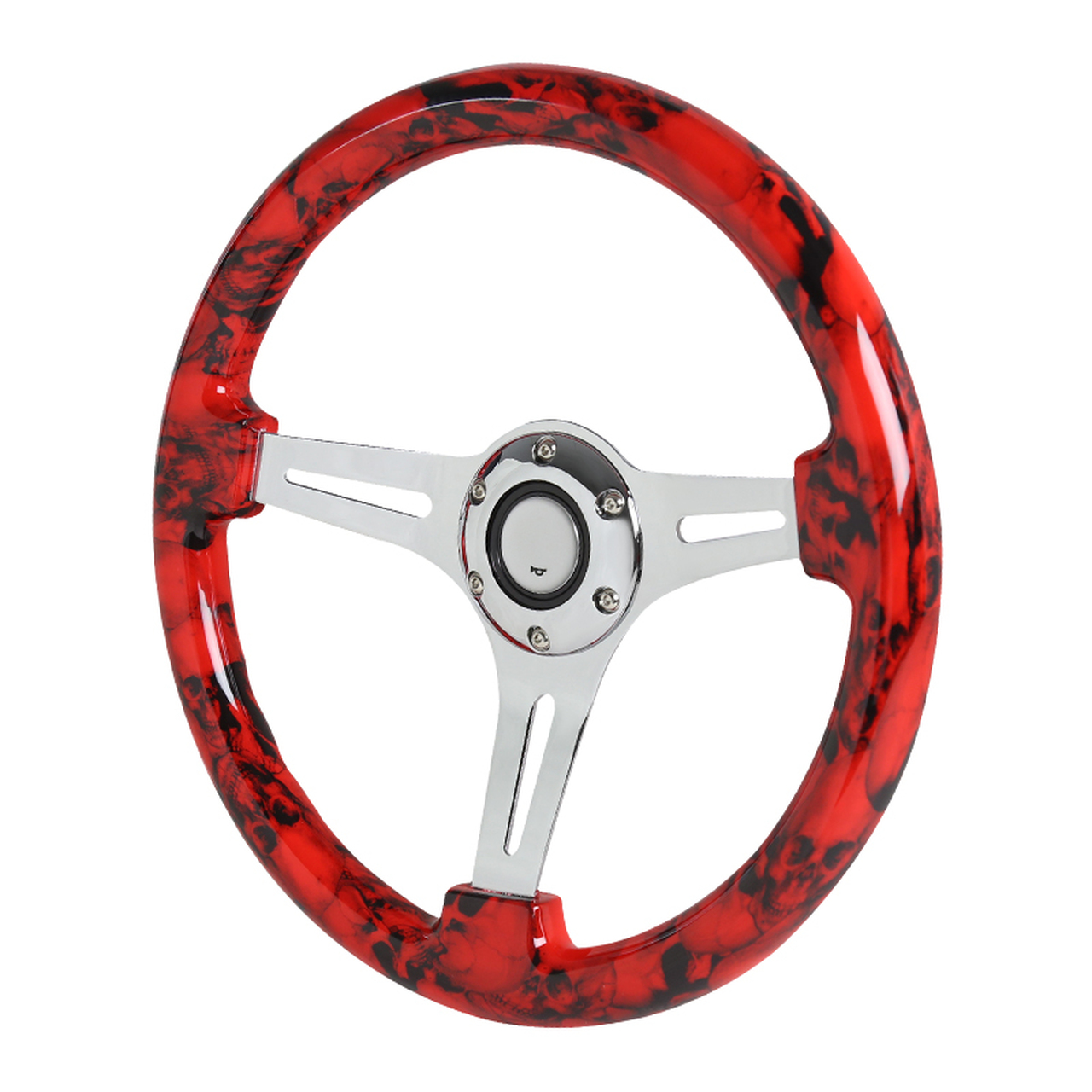 Spec-D Tuning 350mm 3-Spoke Wooden Deep Dish Steering Wheel - Spec-D Tuning SW-1432-HSDKL