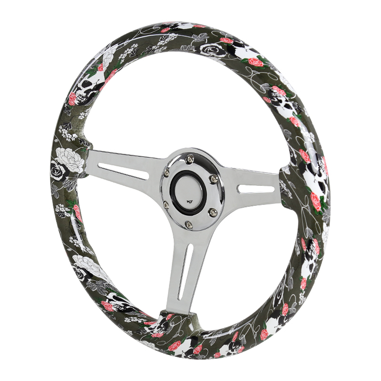 Spec-D Tuning 350mm 3-Spoke Wooden Deep Dish Steering Wheel - Spec-D Tuning SW-587-MGKL