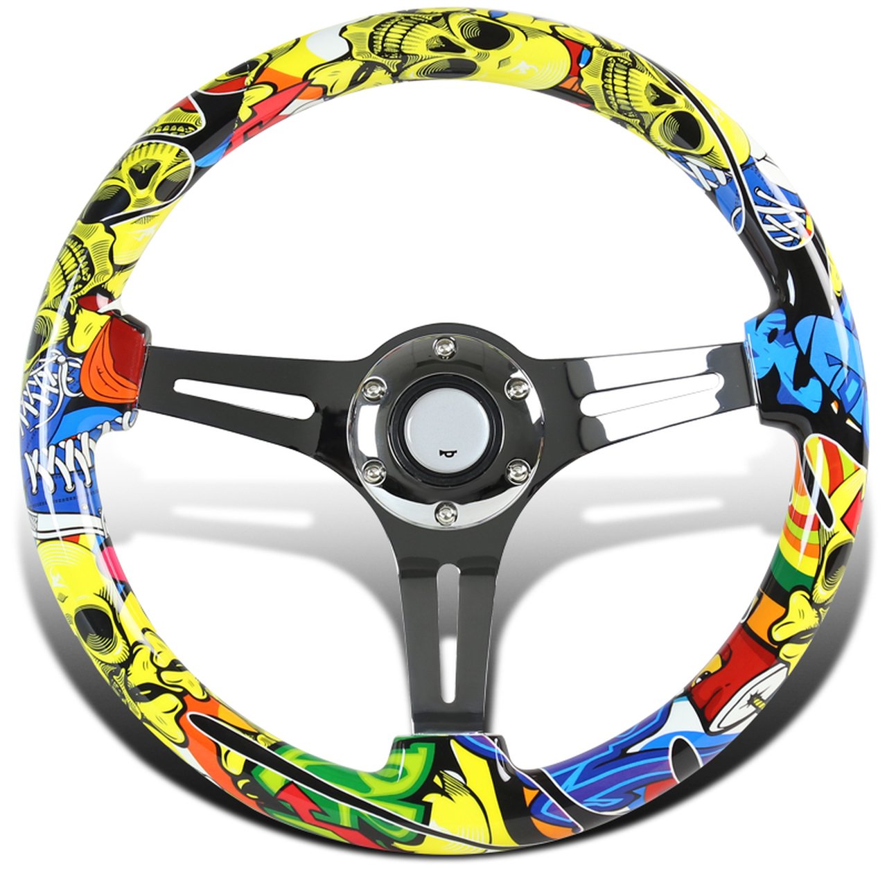 Spec-D Tuning 350mm 3-Spoke Wooden Deep Dish Steering Wheel - Spec-D Tuning SW-941-TY