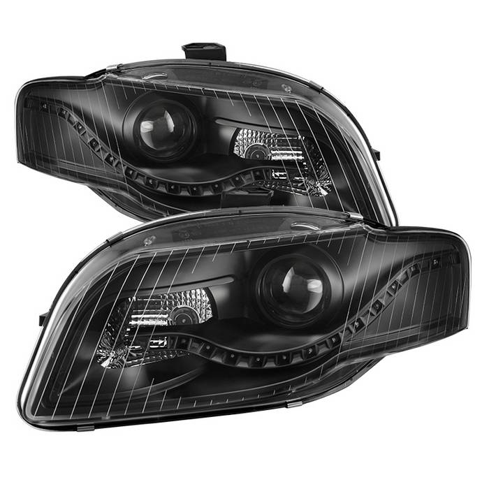 Spyder Black Projector Headlights With DRL LED - Spyder PRO-JH-AA406-DRL-BK