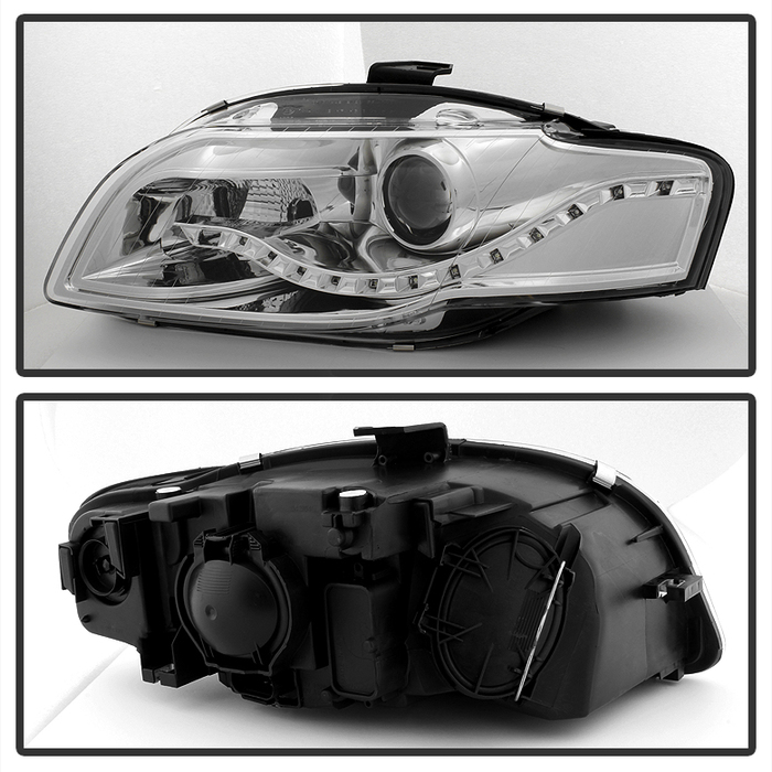 Spyder Chrome Projector Headlights With DRL LED - Spyder PRO-JH-AA406-DRL-C