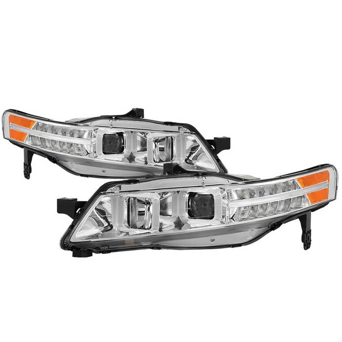 Spyder LED DRL Bar Chrome Projector Headlights - Spyder PRO-JH-ATL04-DRL-C