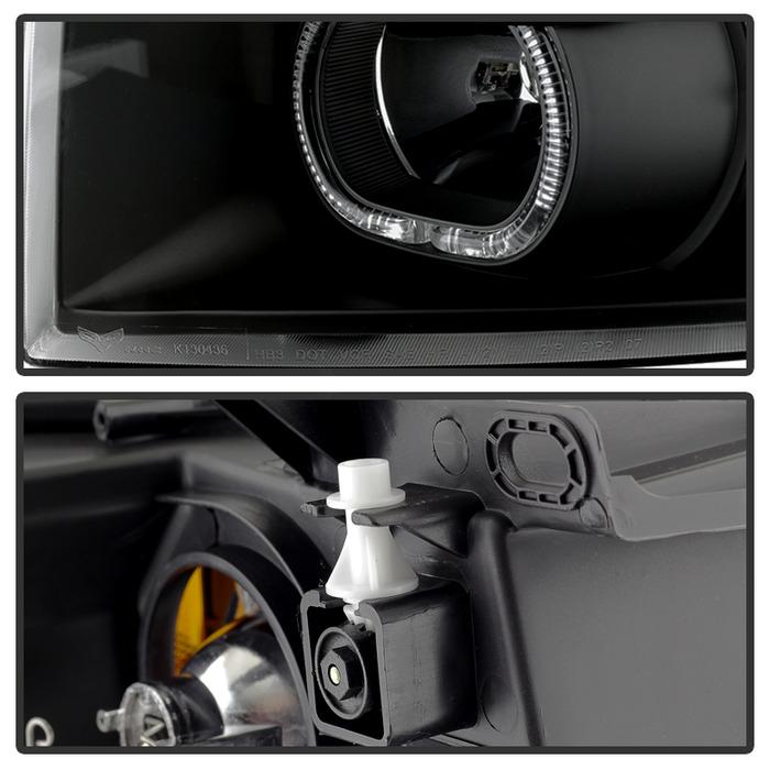 Spyder Black LED Halo Projector Headlights - Spyder PRO-JH-CSIL07-CFB-BK