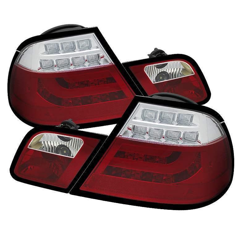 Spyder Red Clear Light Bar LED Tail Lights - Spyder ALT-YD-BE4600-LBLED-RC