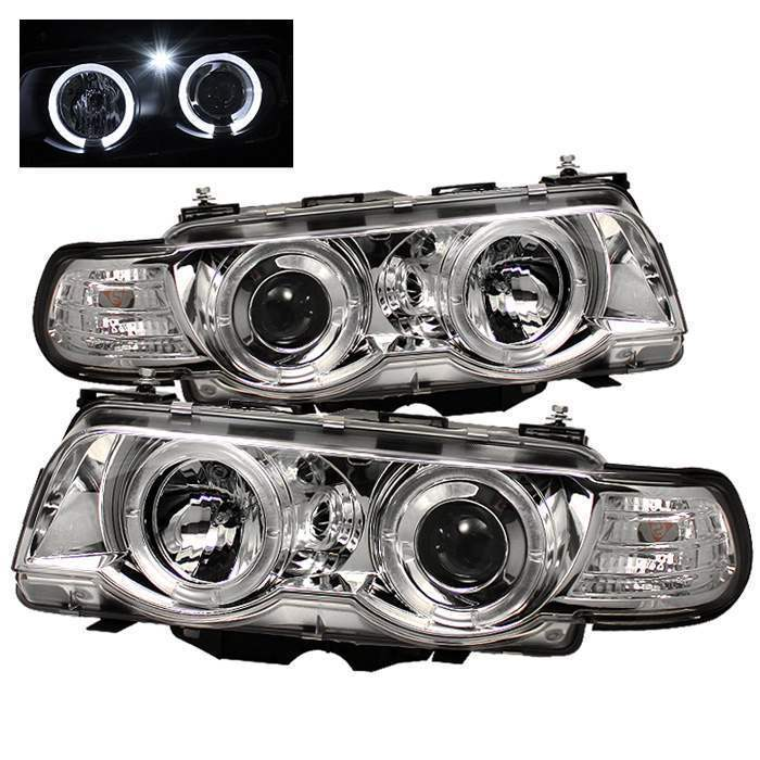 Spyder Chrome LED Halo Projector Headlights - Spyder PRO-YD-BMWE3899-HID-HL-C