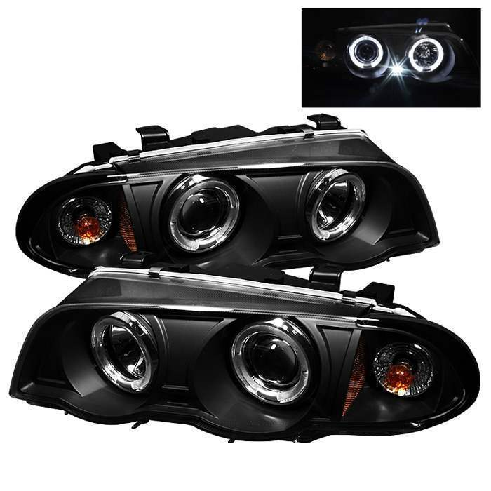 Spyder Black LED Halo Projector Headlights - Spyder PRO-YD-BMWE46-4D-HL-AM-BK